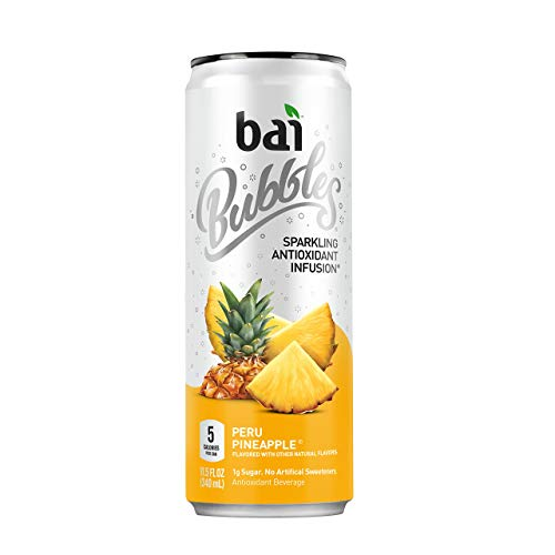 Bai Bubbles Peru Pineapple, Sparkling Antioxidant Infused Beverage, 11.5 Fluid ounce can