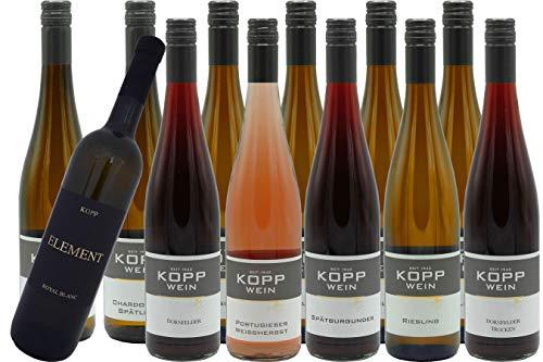 Gutsprobe mit 12 Flaschen Gutsabfüllung, direkt vom Erzeuger: Weingut Kopp Pfalz 1220