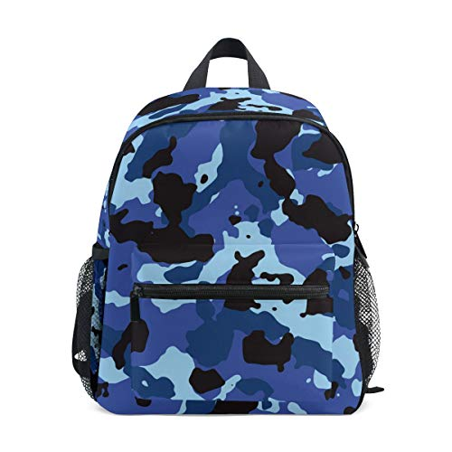 Chic Houses Force Camouflage Blue Navy Pattern Mini Casual Packback Military Army Enthusiast Style Toddler Bookbag School Bag for 3 8 Years Old Boys Girls Kids Preschool Backpack 2030503
