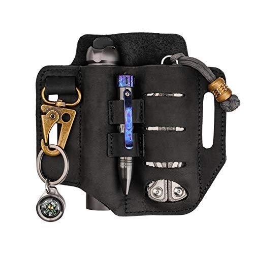 VIPERADE PJ13 Plus - Funda multiherramienta para cinturón, organizador de bolsillo EDC para hombre, funda de piel con soporte para llaves, funda multiherramienta para Leatherman (negro)