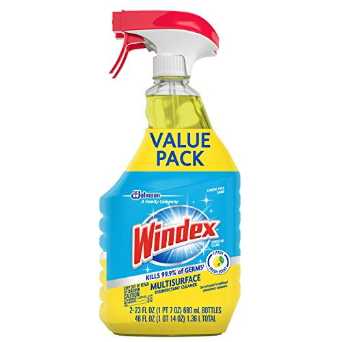 Windex Disinfectant Cleaner Multi-Surface Spray, 2 ct, 23 fl oz
