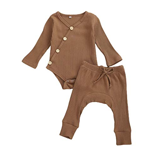 Baby Unisex Pajamas, Baby Girl Boy Kimono Bodysuit Long Sleeve Romper Tops Pants Set, Infant Baby Clothes Fall Winter Outfit