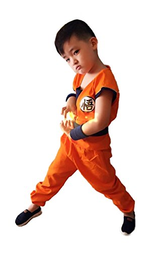 Tokyo-H Dragon Ball Costume Son Goku Kids Tail Set Japanese Anime Cosplay Large Size Orange