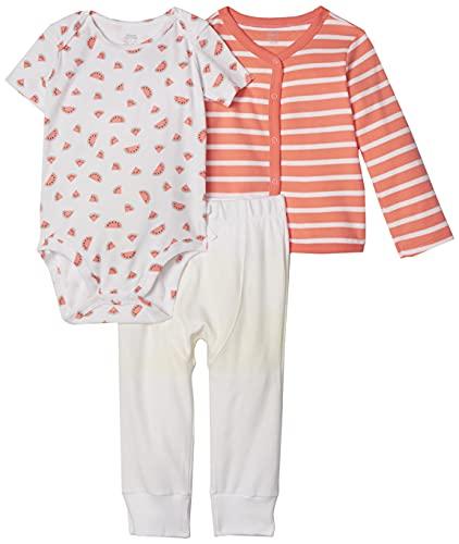 Amazon Essentials - Conjunto de 3 piezas con cárdigan para niña, Girl Fruit, Bebé prematuro
