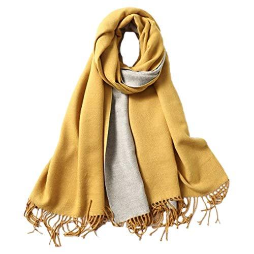 Bufandas Chal Cashmere Bufanda Señoras Shaw Shaw Bufanda Manta Color Sólido Doble Cara Soft Soft Bufanda Amarillo Moda Bufandas (Color : Yellow Grey)