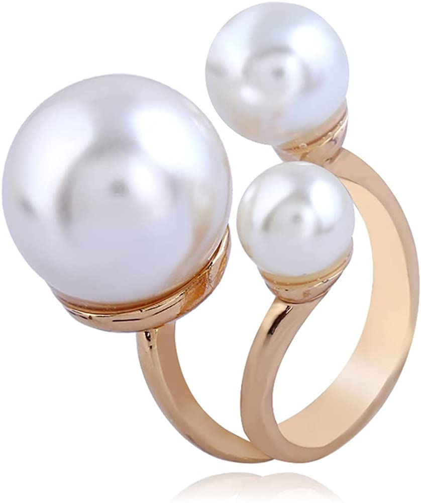 3 Pearls Promise Ring for Women Girls Statement Expandable Adjustable Big Imitation Pearl Ball Open Band Wrap Rings Comfort Fit Engagement Wedding Jewelry