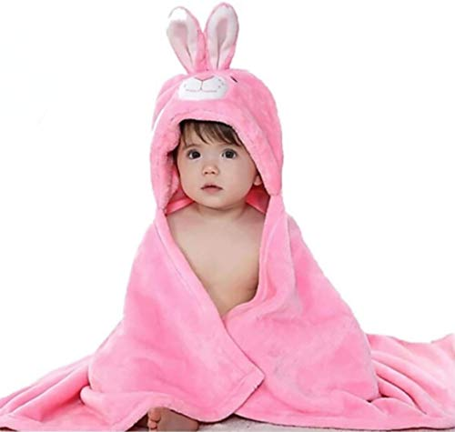 BRANDONN Fleece Single Newborn 3-in-1 Rabbit Wrapper Baby Bath Towel (Pink), 1 Piece