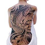 [GLEOOD] タトゥーシール ボディーシール 背中 一面 用 特大 大きめ サイズ 目立つ デザイン 印刷 (鯉と花 単色)
