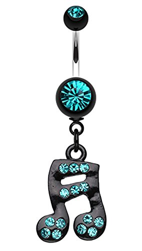 Sparkle Fun Music Note Dangle Belly Button Ring - 14 GA (1.6mm) - Teal - Sold Individually