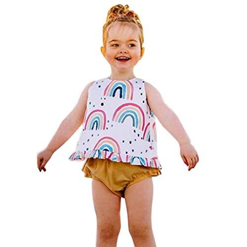 Julhold Zomer Pasgeboren Kid Baby Meisjes Vrije tijd Leuke Outfits Kleding Regenboog Losse Print Vest Shirt+Shorts Set 0-2 Jaar