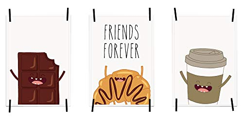 myprinti® Keukenafbeeldingen, posters, afbeeldingen voor de keuken, keukenposter, kunstdruk, moderne wanddecoratie, keuken decoratie, chocolade, croissant, Friends Forever, koffiebeker