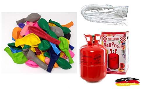 Adams Gas, Belbal, Ballonservice Set: Helium Ballongas + 50 Bunte Ballons + 50 Fäden/Schnellverschlüsse