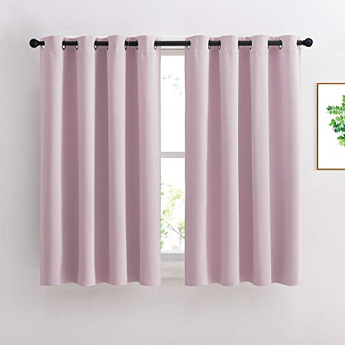 NICETOWN Blackout Curtains for Girls Room - Thermal Insulated Solid Grommet Room Darkening Curtains/Panels/Drapes for Bedroom (Lavender Pink=Baby Pink, 1 Pair, 52 by 45-Inch)