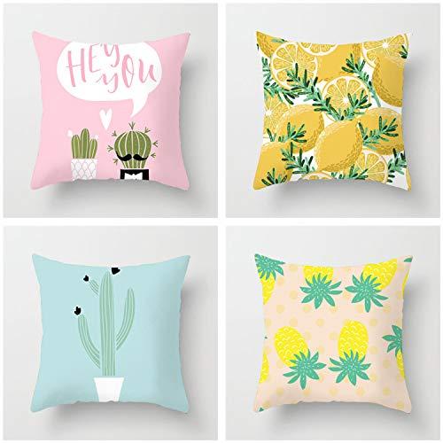 HOUZII Zippered Cushion Cover, 4 Pack Lemon print Square Throw Pillow Case, 45x45 cm (17x17 Inch),