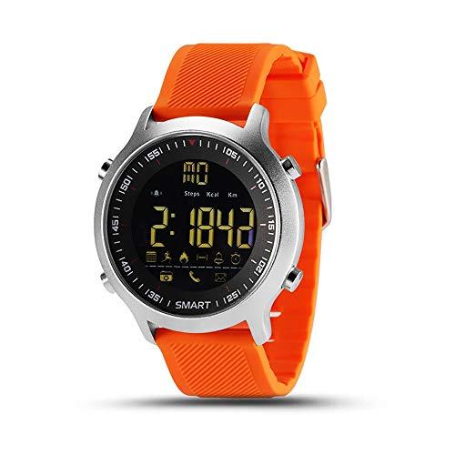 KawKaw EX18 Edelstahl Smartwatch mit Alarm, Fitnesstracker, Schlaftracker, Pedometer, Schrittzähler & Kalorienzähler - Wasserdicht mit vielen Sportfunktionen für Damen, Herren & Kinder (Orange)