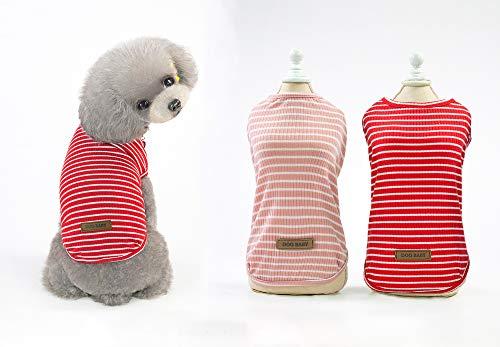 YAODHAOD Camiseta de algodón a rayas para perro, ropa para cachorro, camisetas para gato, chaleco transpirable, elástica, para perros pequeños y medianos (2 unidades) M, putrefacción + rosa