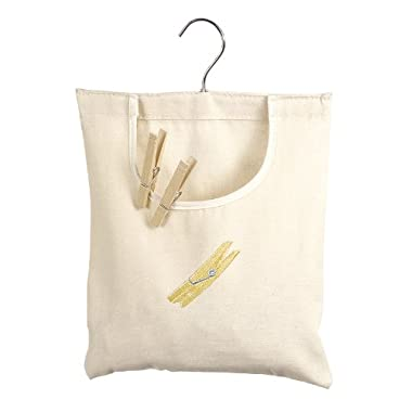 Whitmor Canvas Clothespin Bag Hanging Storage Organizer