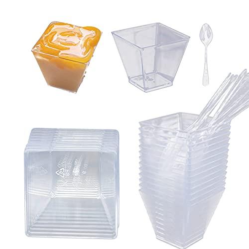 Yisscen 50 pièces Coupes à Dessert 160ML Réutilisable Tasses à Dessert avec Cuillères Transparent Coupe à Dessert Plastique Verrines Plastique pour Apéritifs, Tiramisu,Dessert