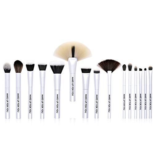 BERYLSHOP Farbverlauf Tools Make-up Toiletry Kit Faser Kosmetikbürste 15 in 1 (Farbe : White)