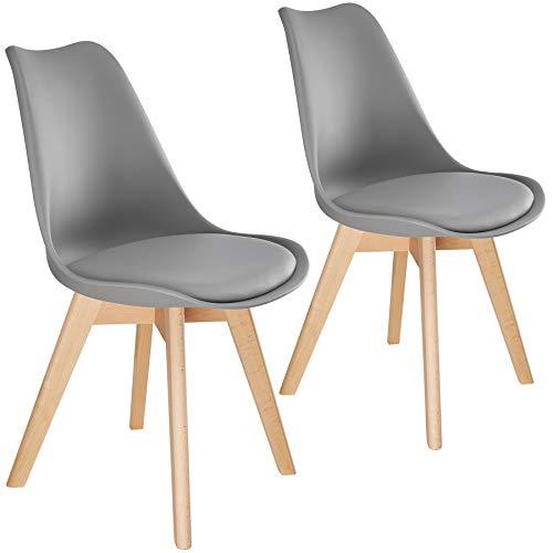 TecTake 800852 2er Set Esszimmerstuhl, gepolsterte Sitzfläche, Beine aus massivem Holz, Polsterstuhl für Wohnzimmer, Esszimmer, Küche und Büro - Diverse Farben - (Grau   Nr. 403812)