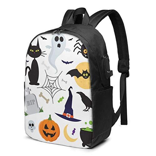 XCNGG Artículos de Halloween Mochila, Mochila con Puerto de Carga USB y Puerto para Cable de Auriculares, Mochila de 17 Pulgadas