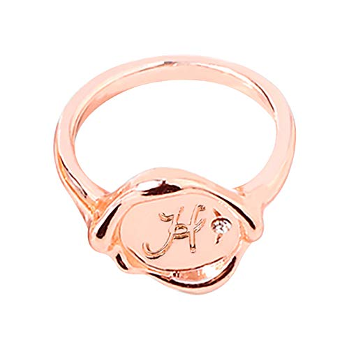 Buchstaben RoséGold Ring Damen Personalisierte Siegelring Pinky Ring Damen Mit Buchstabe Stein Zirkonia Geburtsstein Rosegold Gold Schmuck Geschenk FüR Mama Freundin Paar Freunds