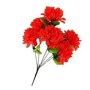 Bonarty Artificial Silk Flower Bouquet Arrangement in Grave/Memorial/Funeral Pots – Red