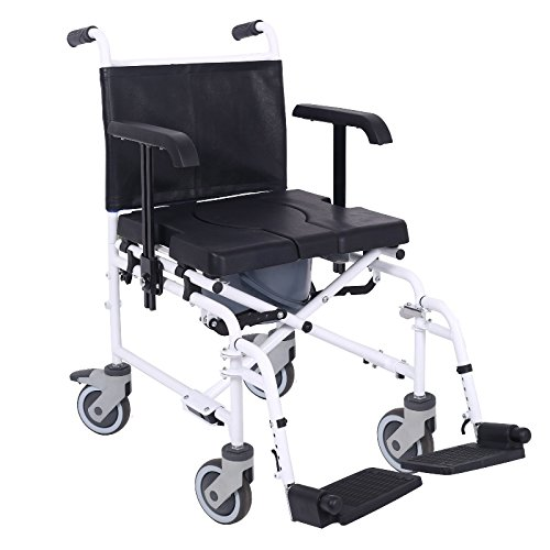 Attendant controlled Wheeled mobile commode shower chair with removeable footrests and armrests