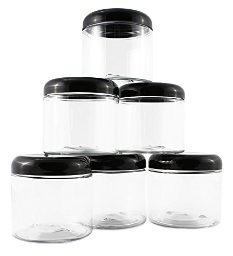 16oz Clear Plastic Jars w/Domed Lids (6 pack); BPA Free PET Stackable Straight Sided Canisters for Bathroom & Kitchen Storage of Dry Goods, Creams and More