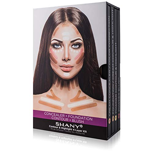 SHANY 4-Layer Contour and Highlight Makeup Kit - Set of Concealer/Color Corrector, Foundation, Contour/Highlight, and Blush Palettes