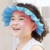 Wateralone Baby Badekappe Verstellbare Duschvisierkappe, weiches Silikon Duschhaube Shampooschutz Hüte, Badeshampoo Shield Sonnenschutz Kappe Visier für Kinder von 0-6 Jahren (Blau)