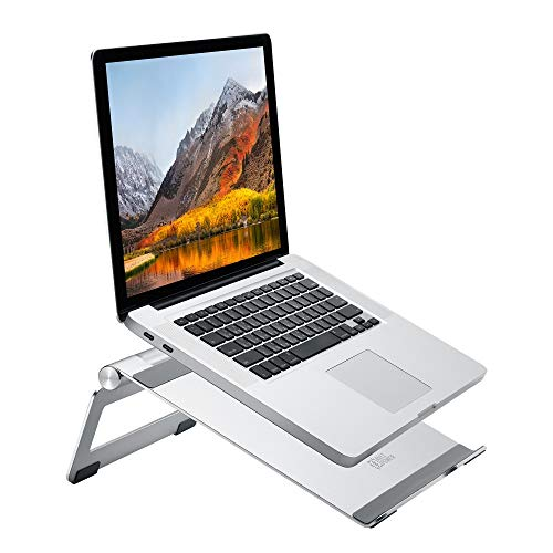 AVLT Portable Aluminum Laptop Stand-Multi Angle Adjustable Riser- Ventilated Laptop Cooling Stand Compatible with Laptop Up to 17' for MacBook, MacBook Pro, Hp, Dell, Lenovo, Asus - Silver
