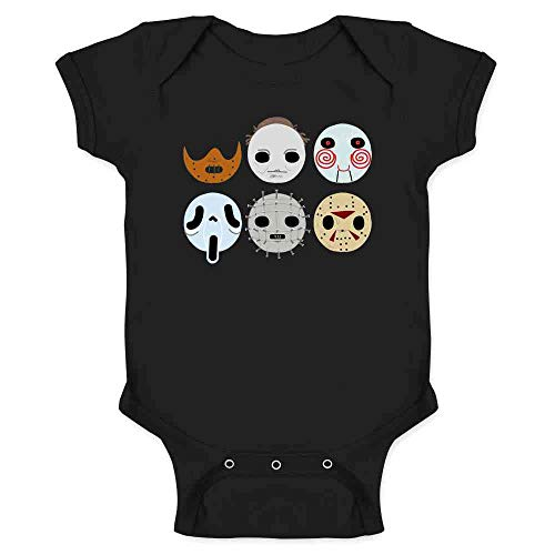 Horror Masks Monster Scary Movie Halloween Costume Black 6M Infant Baby Boy Girl Bodysuit