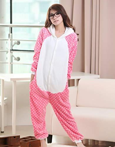 Pijama Animal Pink Kitty Onesies Mujeres Adultos Franela Pijamas Mono Homewear Halloween Sleepsuit Fiesta de Navidad Cosplay Disfraces-Rosado_SG