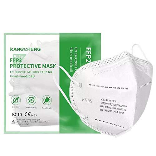 Confezione da 10 Mascherine FFP2 Kangcheng Medical. Singolarmente Sigillate. Protezioni respiratorie monouso, certificate CE, filtrazione multistrato.