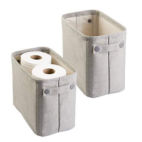 mDesign Juego de 2 organizadores de tela de algodón para guardar papel higiénico – Organizadores de revistas, diarios, toallas y más – Elegantes cestas para el baño y para el salón – gris claro