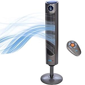 Arctic-Pro Digital Screen Oscillating Tower Fan with Remote Control, Dark Gray, 42-Inch