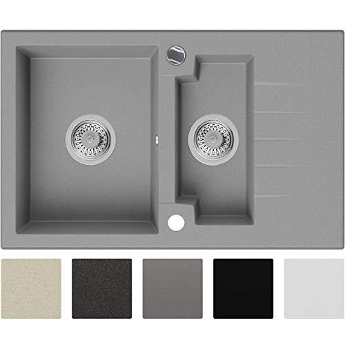 Granitspüle Grau 75 x 47,5 cm, Spülbecken + Siphon Automatisch, Küchenspüle ab 60er Unterschrank in 5 Farben mit Siphon und Antibakterielle Varianten, Einbauspüle von Primagran