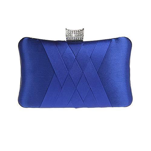 Ro Rox Francesca Retro Cristal Noche de Baile Partido Caja de embrague Bolso - Azul