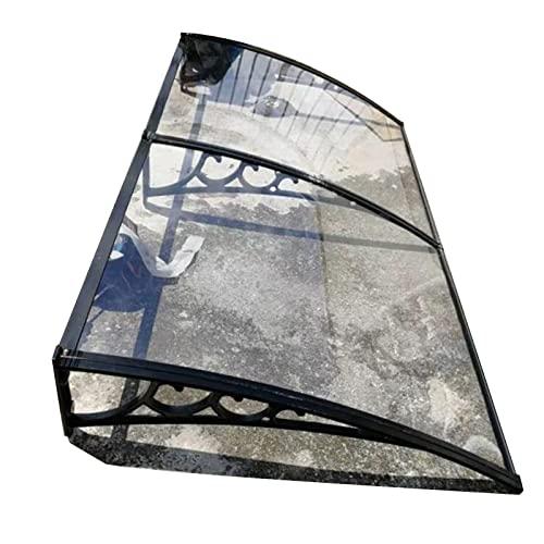 CAIJUN Cubierta De Lluvia Toldo De Ventana,Transparente Hoja De Policarbonato Marquesinas Exterior para Residencial Puerta del Patio Balcón Porche,Negro,Personalizable (Tamaño : 60cmx300cm)