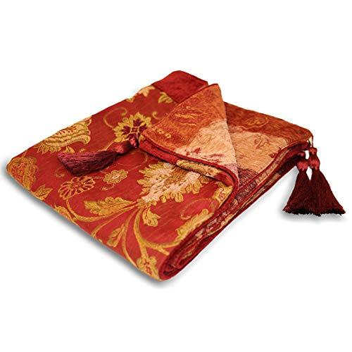 Riva Paoletti Zurich Throw - Borgoña Red - Decorativo Floral Jacquard Design - Borlas - Peso Pesado - 100% Polyester - 150 X 180 Cm (59' X 71' Pulgadas) - Diseñado En El Reino Unido