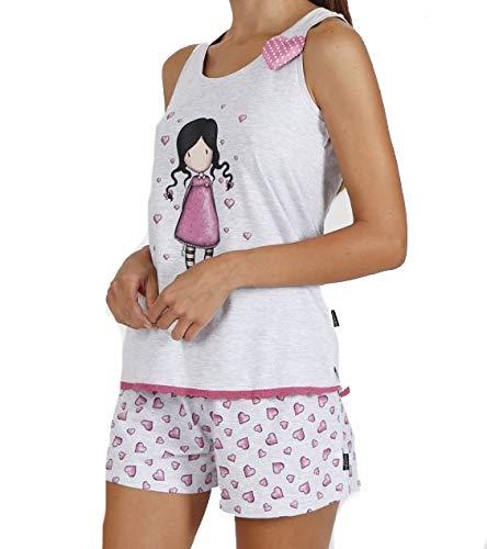 Santoro Gorjuss Pijama de 2 piezas de camiseta + pantalón corto 5500 de algodón para primavera y verano, original y auténtico, ideal para niña/mujer, en caja de regalo Rosa M