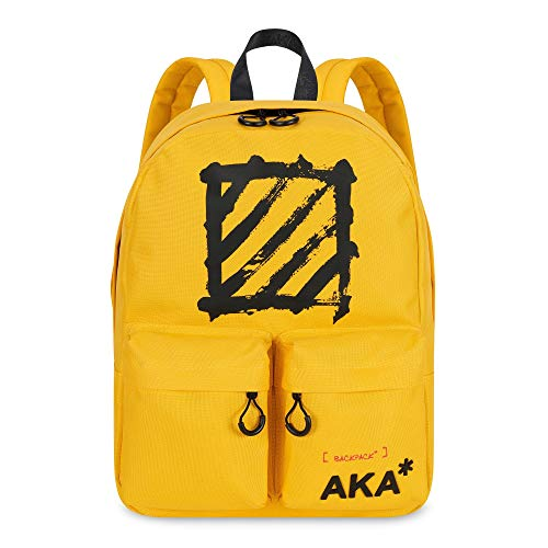 AKA* Brick Lane Backpack - Yellow Waterproof School Bag with Laptop Compartment - Designer Schoolbag