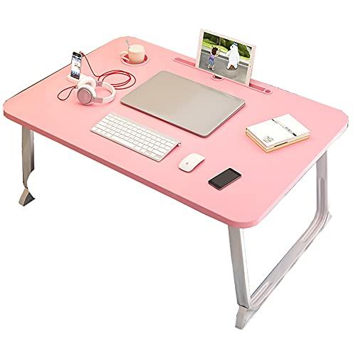 LJFYXZ Mesa de Ordenador Escritorio Plegable portátil Mesa de Escritorio Escritorio de computadora Plegable de Madera para sofá Cama portátil Escritorio portátil Plegable(Color:Pink)