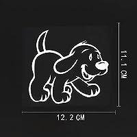 カーステッカー12.2CMX11.1CM漫画キッズ赤ちゃん動物犬ビニールカーステッカーブラック/シルバー8A-0539