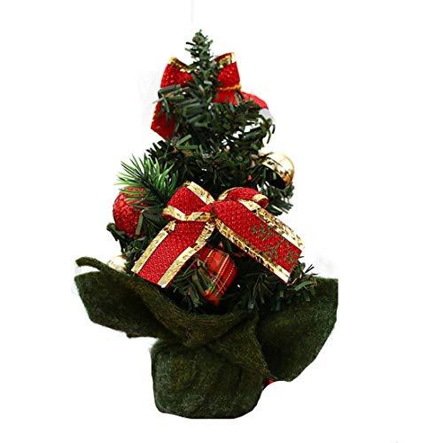 Geschmückter Weihnachtsbaum beleuchtet 20cm Silber - Weihnachtsbaum mit Lichterkette Schleifen Christbaumkugeln