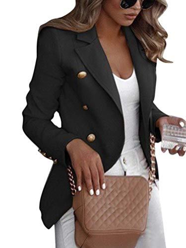 Shallood Damen Elegant Langarm Blazer Sakko Einfarbig Slim Fit Revers Geschäft Büro Jacke Kurz Mantel Anzüge Bolero Mit Knopfleiste Military Coat Blazer A Schwarz 38