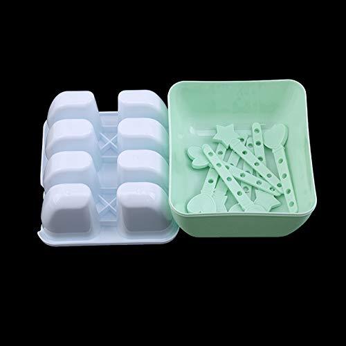 Coner Ice Cream Popsicle Mallen Plastic ijsvorm Bevroren ijslollys Combinatie Ice Cube Maker Ronde vierkante Ice Pop Mold, groen