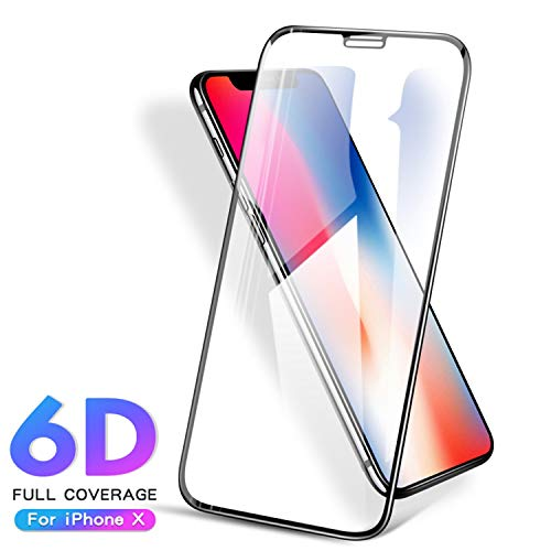 PmseK Protector de Pantalla,Vidrio Templado,6D Fully Covered Tempered Glass For iPhone X XS MAX Protective Glass On Iphone7 8 6S Plus XR Tempered Film Safety Anti-Fall For iPhoneXR White