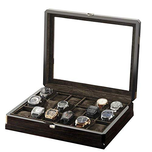 FGDSA Uhr Aufbewahrungsbox Holzglas Uhrenbox Schmuck Vitrine Box Schmuckschatulle 18 Tischmode
